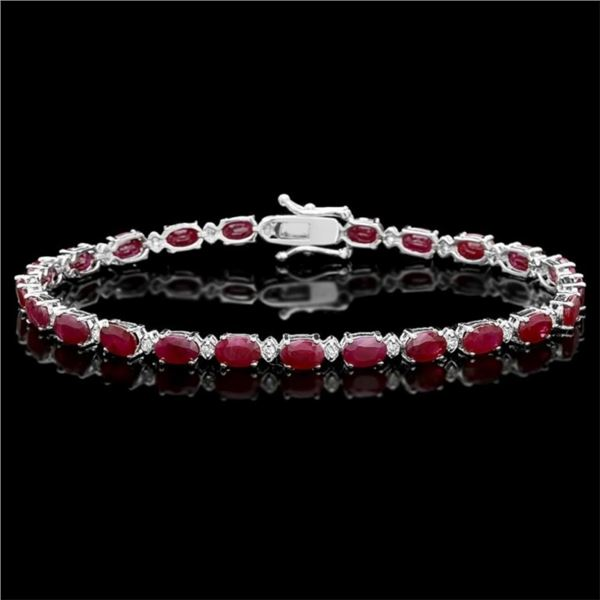 `14k Gold 14.00ct Ruby & 0.50ct Diamond Bracelet