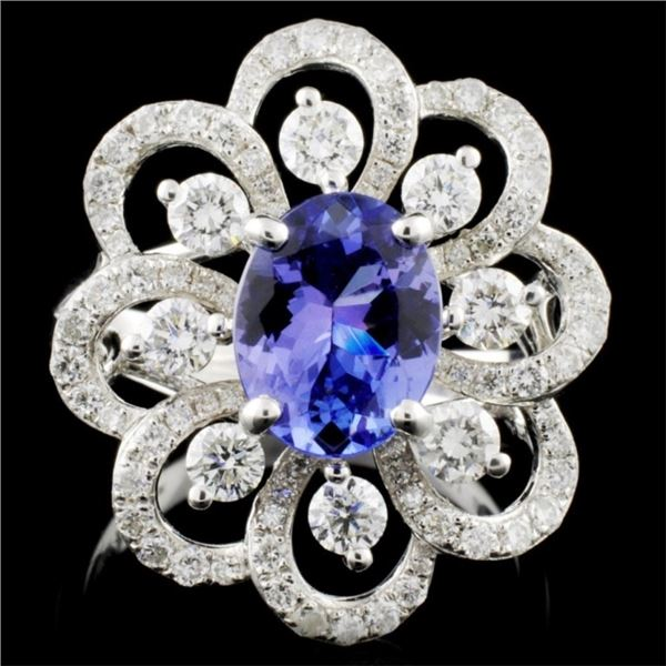 18K Gold 1.75ct Tanzanite & 1.22ctw Diamond Ring