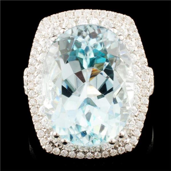18K Gold 13.87ct Tourmaline & 1.04ctw Diamond Ring