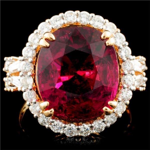 18K Rose Gold 9.73ct Tourmaline & 1.39ctw Diamond