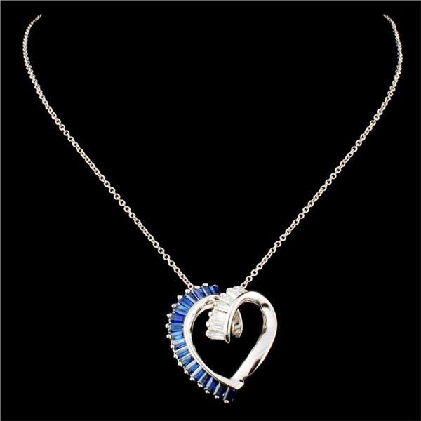 14K Gold 1.45ct Sapphire & 0.27ctw Diamond Pendant