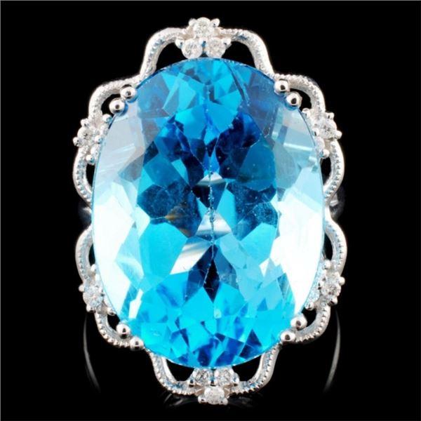 14K Gold 22.79ct Topaz & 0.18ctw Diamond Ring