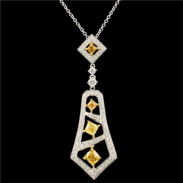 18K Gold 1.15ctw Fancy Diamond Pendant