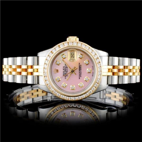 Rolex YG/SS DateJust Diamond Ladies Wristwa
