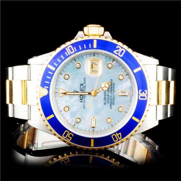 Rolex YG/SS Submariner 40mm Diamond Wristwatch