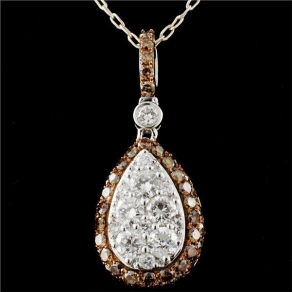 14K White Gold 1.26ctw Fancy Color Diamond Pendant