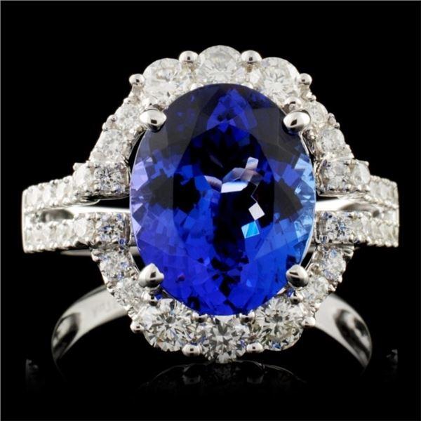 18K W Gold 3.70ct Tanzanite & 0.88ctw Diamond Ring