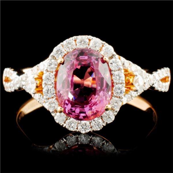 14K Gold 1.90ct Spinel & 0.42ctw Diamond Ring