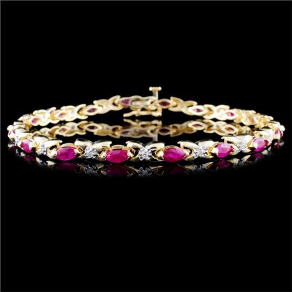 14K Yellow Gold 4.00ct Ruby & 0.25ct Diamond Brace