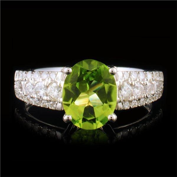 14k Gold 1.63ct Peridot & 0.43ctw Diamond Ring