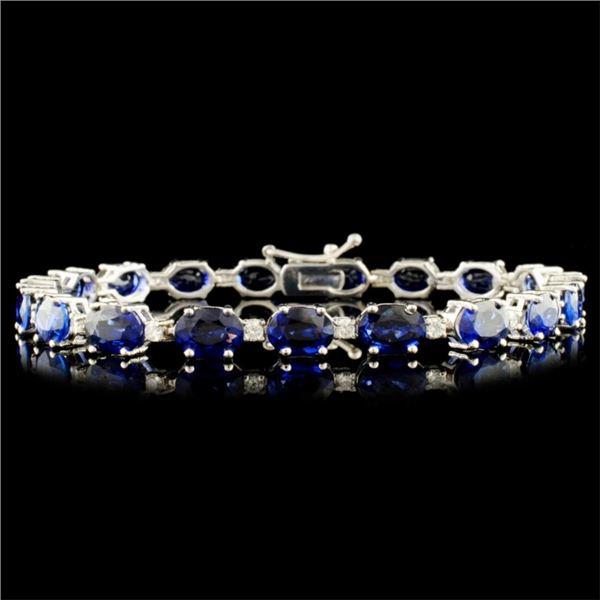 14K Gold 21.43ct Sapphire & 0.66ctw Diamond Bracel
