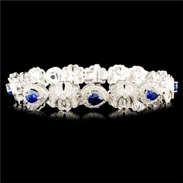 14K Gold 3.24ct Sapphire & 2.11ctw Diamond Bracele