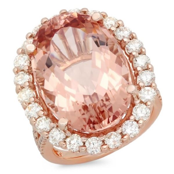14K Gold 20.00ct Morganite & 2.10ct Diamond Ring