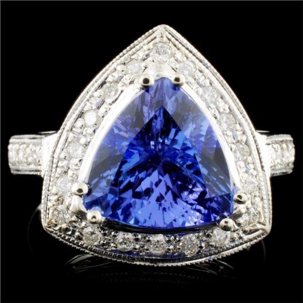 14K Gold 2.89ct Tanzanite & 0.30ctw Diamond Ring
