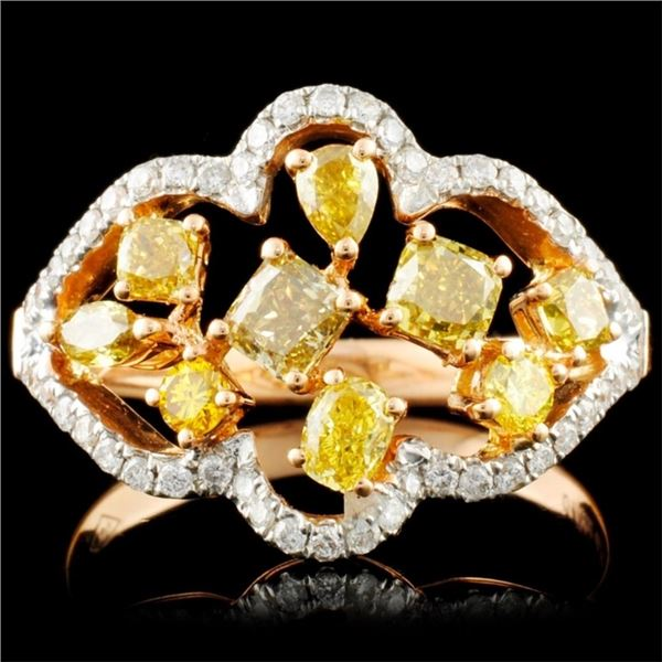 18K Gold 1.34ctw Fancy Diamond Ring