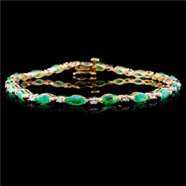 14K Yellow Gold 5.00ct Emerald & 0.25ct Diamond Br