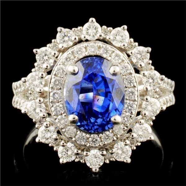 14K Gold 2.78ct Sapphire & 1.03ctw Diamond Ring
