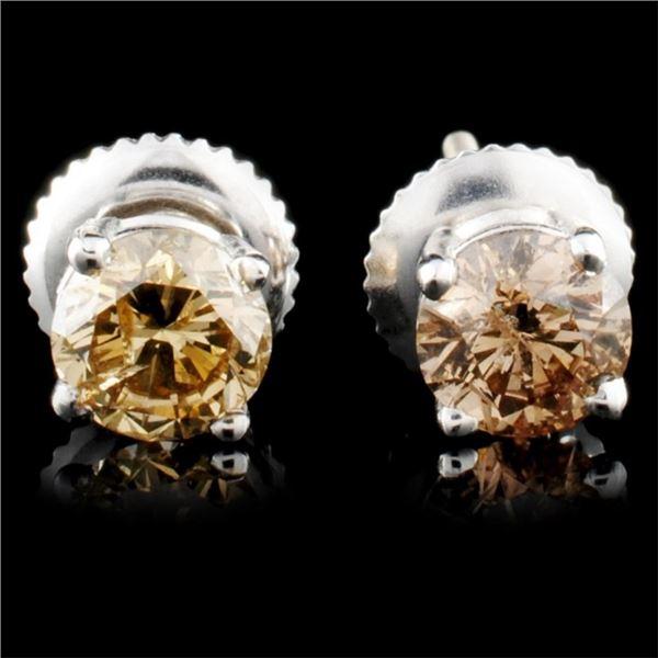 14K Gold 0.92ctw Fancy Color Diamond Earrings