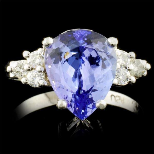 14K Gold 3.27ct Tanzanite & 0.22ctw Diamond Ring