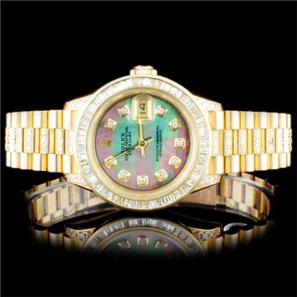 Rolex 18K YG DateJust 4.00ct Diamond Lagies Watch