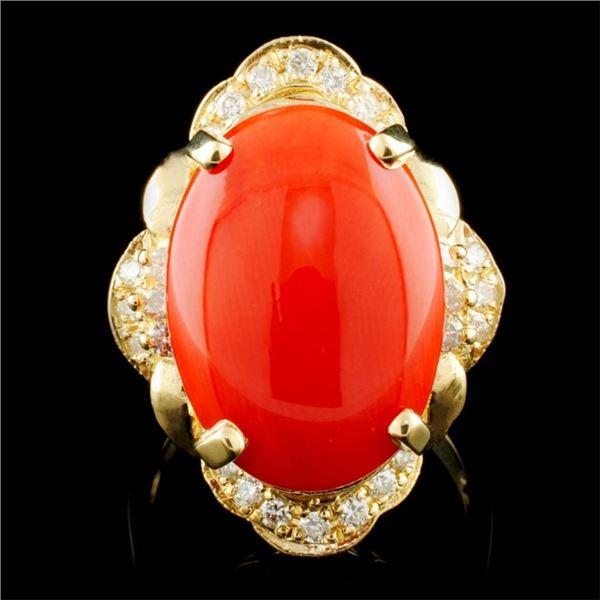 14K Gold 11.50ct Coral & 0.80ctw Diamond Ring