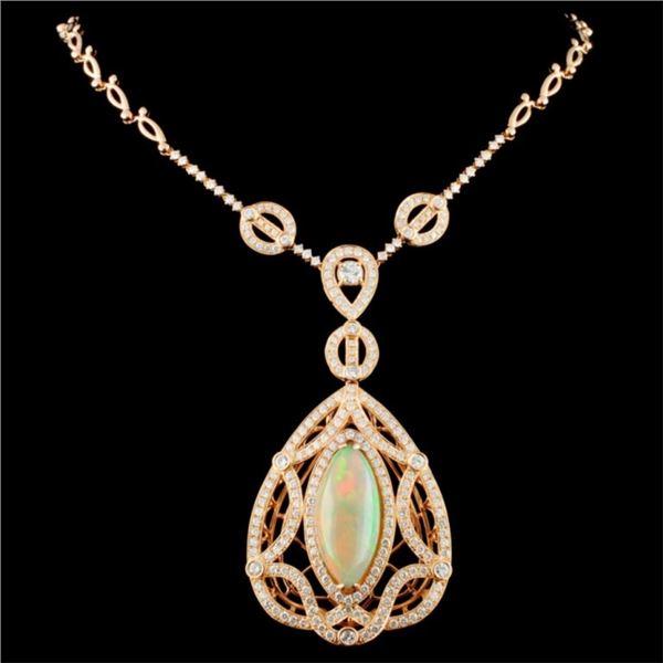 18K Gold 9.43ct Opal & 4.86ctw Diamond Necklace