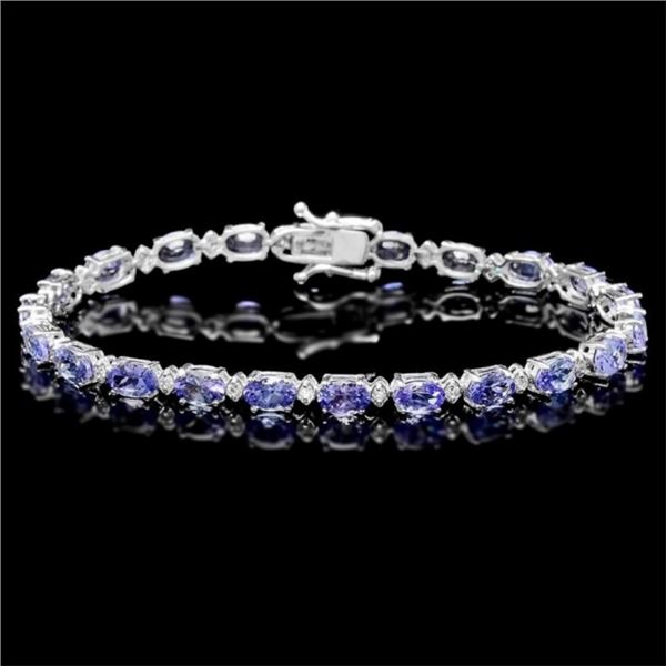 `14k Gold 10.00ct Tanzanite & 0.50ct Diamond Brace