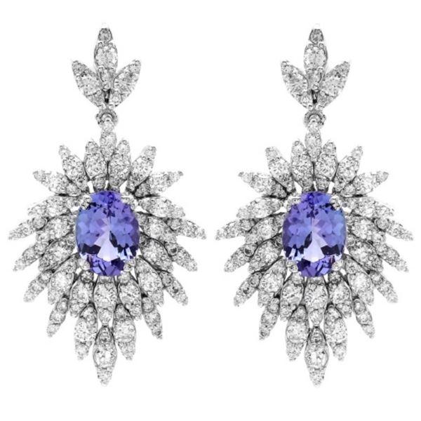 14K Gold 3.00ct Tanzanite & 2.50ct Diamond Earring