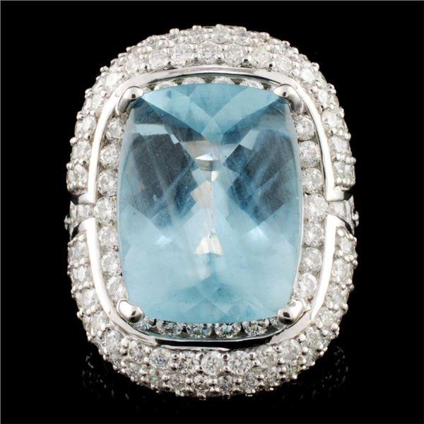 18K Gold 10.82ct Aquamarine & 3.76ctw Diamond Ring
