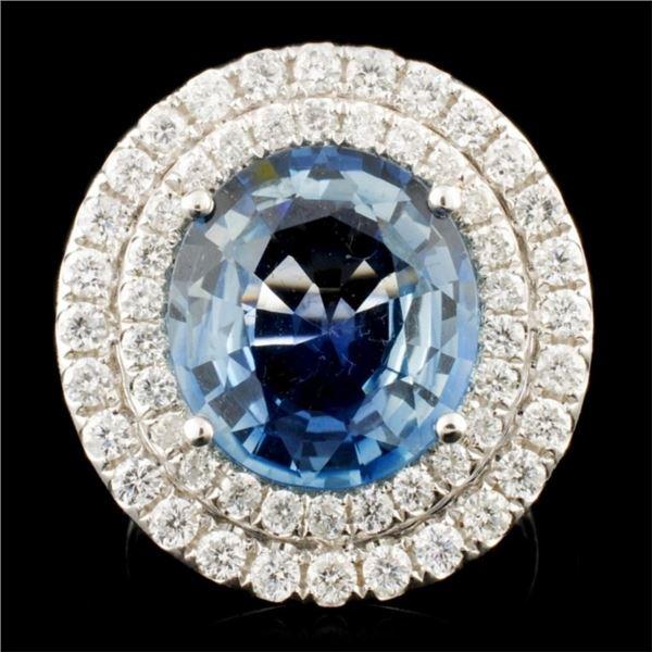 18K Gold 6.74ct Sapphire & 1.31ctw Diamond Ring