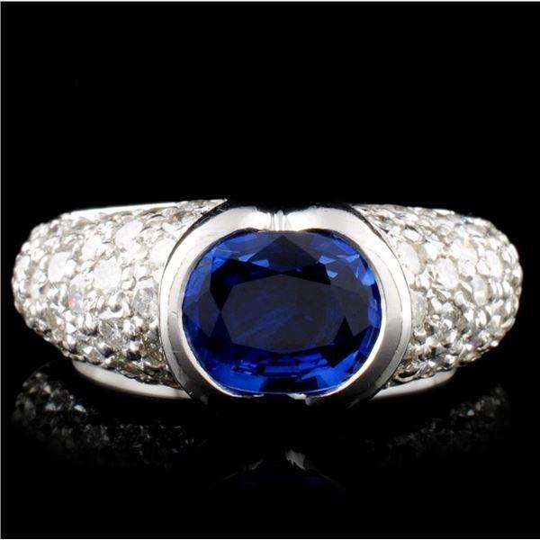 14K White Gold 1.63ct Sapphire & 2.24ct Diamond Ri