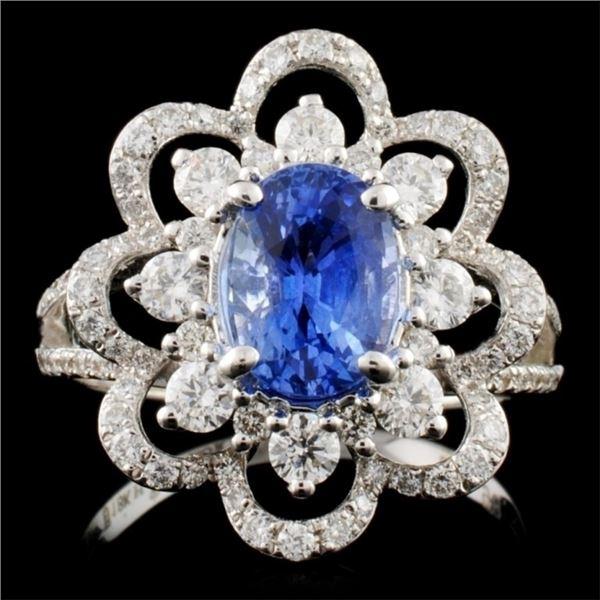 18K White Gold 2.00ct Sapphire & 0.98ct Diamond Ri