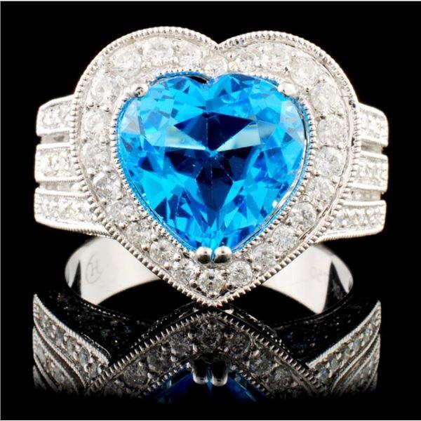 18K Gold 2.97ctw Topaz & 1.17ctw Diamond Ring