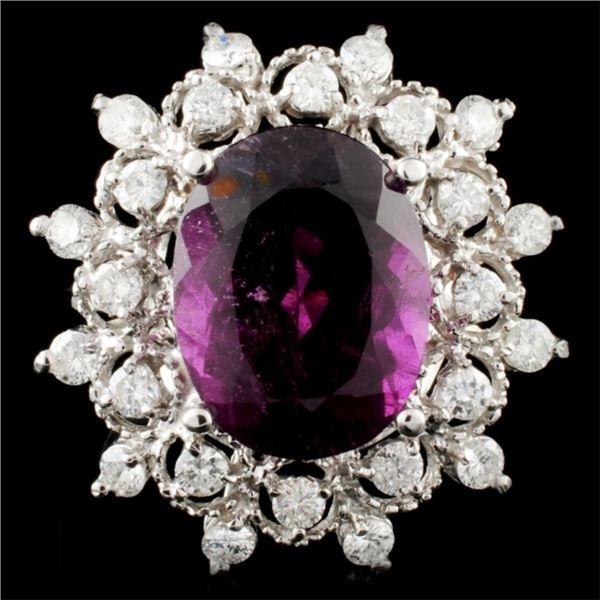14K Gold 6.49ct Tourmaline & 0.97ctw Diamond Ring