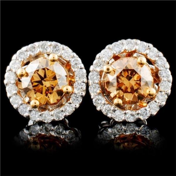 14K Gold 1.29ctw Fancy Diamond Earrings