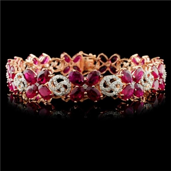 14K Gold 20.68ct Ruby & 1.65ctw Diamond Bracelet