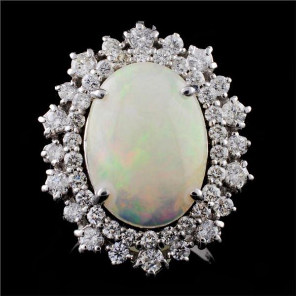 14K Gold 4.00ct Opal & 1.35ctw Diamond Ring