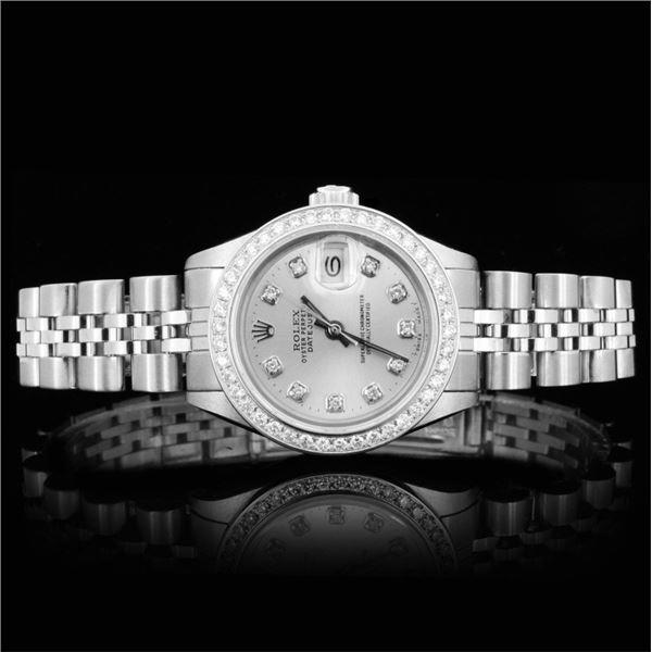Rolex SS DateJust Diamond Ladies Watch