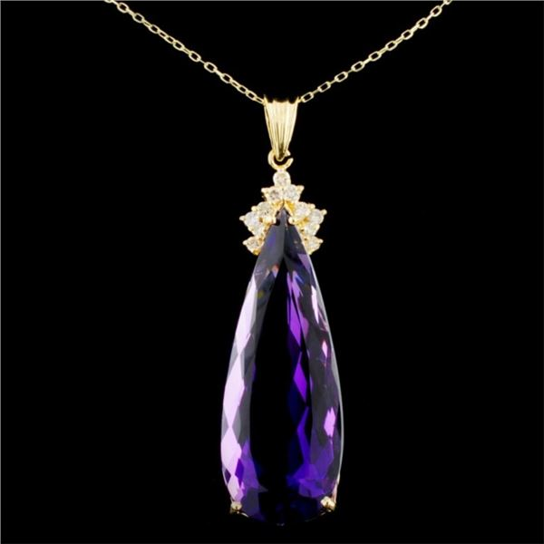14K Gold 24.37ct Amethyst & 0.30ctw Diamond Pendan