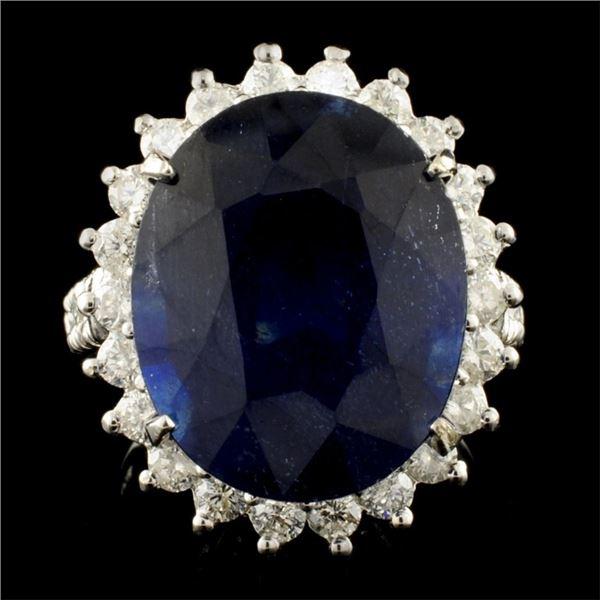 14K Gold 17.15ct Sapphire & 1.25ctw Diamond Ring