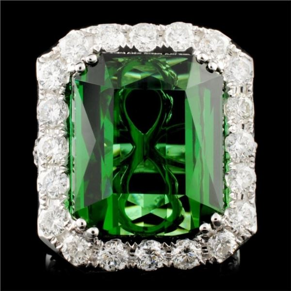 18K Gold 23.82ct Tourmaline & 3.43ctw Diamond Ring