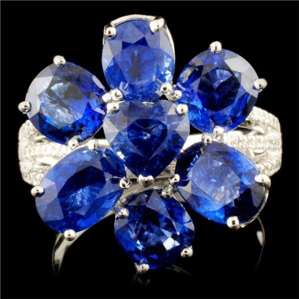 18K Gold 7.74ct Sapphire & 0.23ctw Diamond Ring
