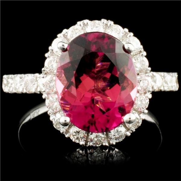 14K Gold 3.36ct Tourmaline & 1.10ctw Diamond Ring