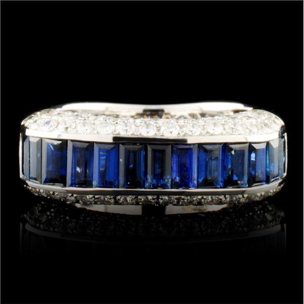 18K Gold 2.06ct Sapphire & 1.15ctw Diamond Ring