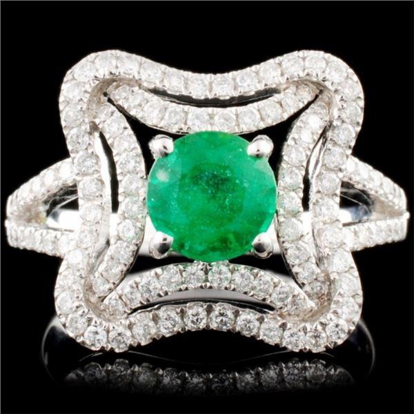 14K Gold 0.90ct Emerald & 0.60ctw Diamond Ring