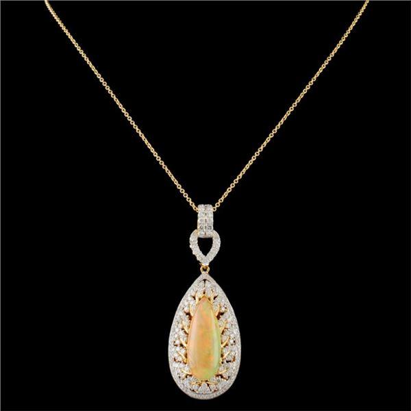 18K Gold 5.26ct Opal & 1.91ctw Diamond Pendant