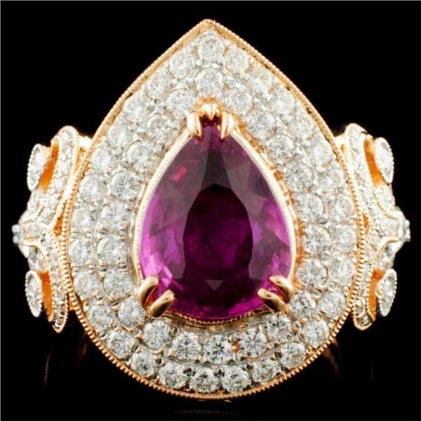18K Gold 3.03ct Sapphire & 1.65ctw Diamond Ring