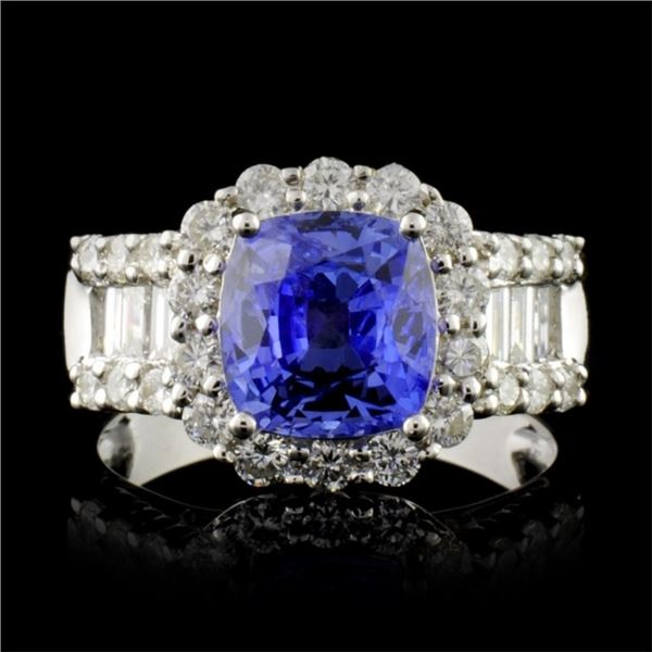 18K White Gold 3.10ct Sapphire & 1.18ct Diamond Ri