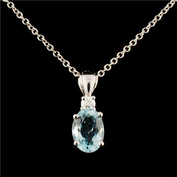 14K Gold 0.92ct Sapphire & 0.06ctw Diamond Pendant
