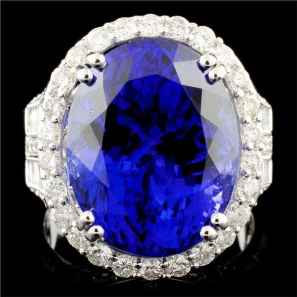 18K Gold 13.35ct Tanzanite & 2.17ctw Diamond Ring